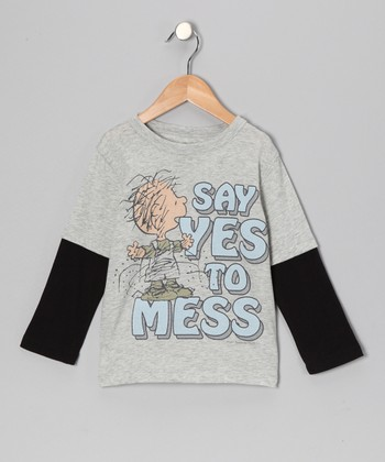 Gray Pig Pen 'Say Yes to Mess' Layered Tee - Toddler & Kids