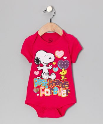 Pink Snoopy & Woodstock 'Best Friends' Bodysuit - Infant