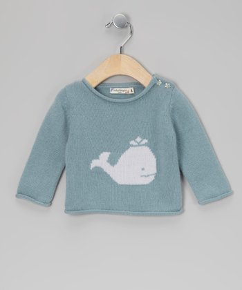 Light Blue Whale Cashmere Sweater - Infant