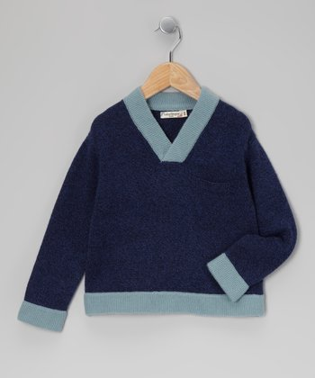 Navy & Light Blue Cashmere Sweater - Infant