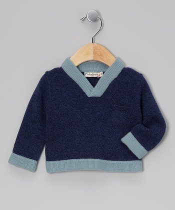 Navy & Light Blue Cashmere Sweater - Toddler & Boys