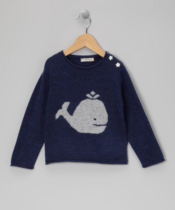 Navy Whale & Star Cashmere Sweater - Toddler & Kids
