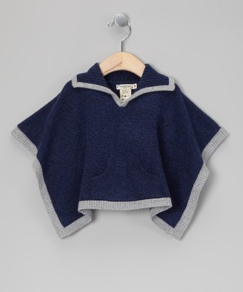 Navy & Gray Cashmere Poncho - Infant