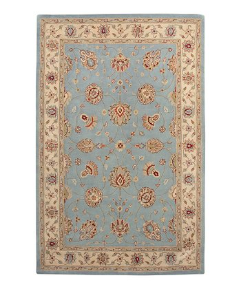 Light Blue & Ivory Wool Clement Cardinal Rug