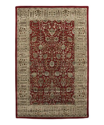Red & Gold Wool-Blend Abhati Roshni Rug