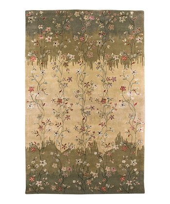 Green & Tan Wool-Blend Elise Gardenia Rug