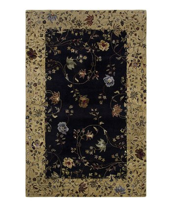 Ebony & Gold Wool-Blend Zoe Gardenia Rug