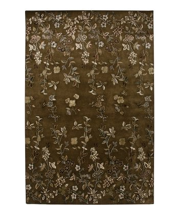 Brown Wool-Blend Capucine Gardenia Rug