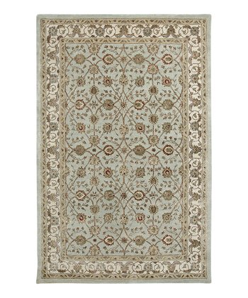Light Blue & Ivory Wool-Blend Induja Roshni Rug