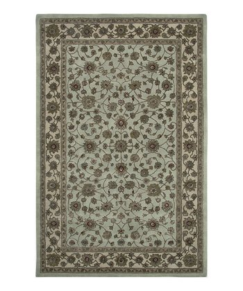 Light Blue & Ivory Wool-Blend Simi Roshni Rug