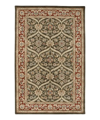 Cocoa Brown & Red Wool Boniface Cardinal Rug