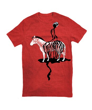 Red Painted Zebra Tee - Toddler & Kids