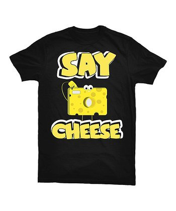 Black 'Say Cheese' Tee - Toddler & Kids