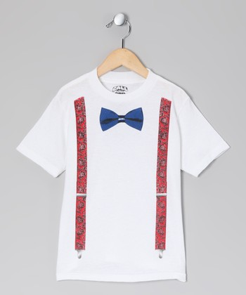 White Bow Tie & Suspenders Tee - Toddler & Kids