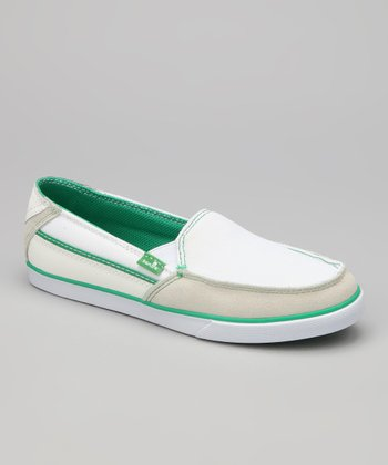 White & Green Standard Streaker Slip-On Shoe - Women