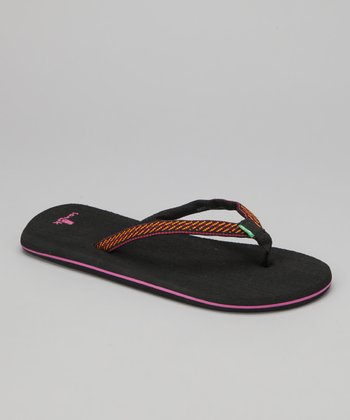 Black & Orange Sandpiper Flip-Flop - Women