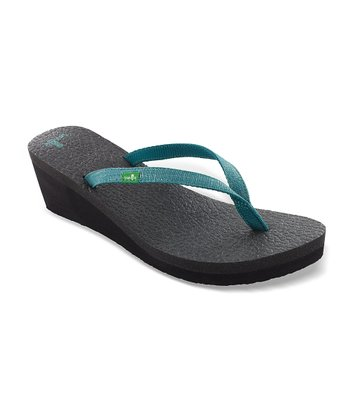 Teal Yoga Spree Wedge Flip-Flop - Women