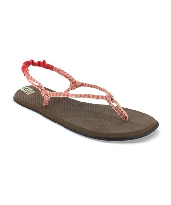 Red & Cream Rasta Knotty Sandal - Women