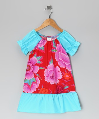 Red & Turquoise Floral Dress - Infant, Toddler & Girls