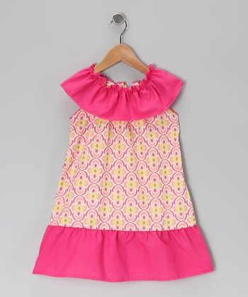 Yellow & Pink Geometric Floral Dress - Toddler & Girls