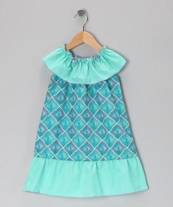 Turquoise Geometric Dress - Toddler & Girls