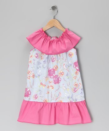 Pink & Light Blue Floral Dress - Toddler & Girls