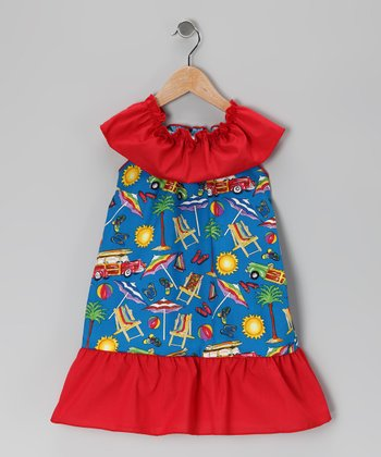 Blue & Red Beach Dress - Toddler & Girls