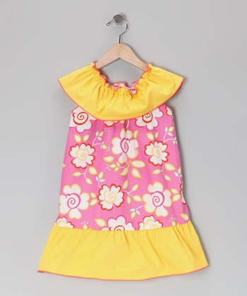 Bright Pink & Yellow Floral Dress - Toddler & Girls