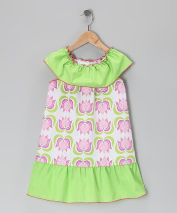 Green & Pink Tulip Dress - Toddler & Girls
