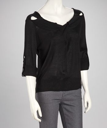 Black Cutout Sweater - Women
