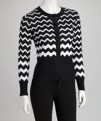 Deep Blue Zigzag Cardigan