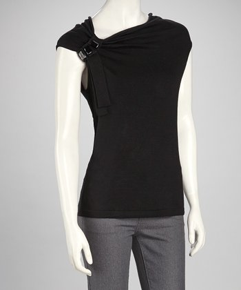Black Gathered Asymmetrical Top