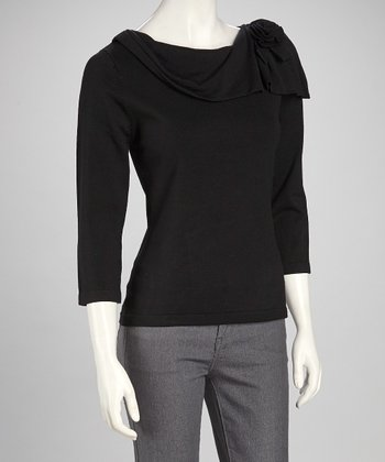 Black Rosette Drape Sweater - Women