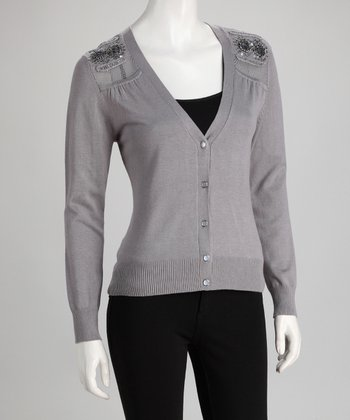 Gray Embellished Cardigan