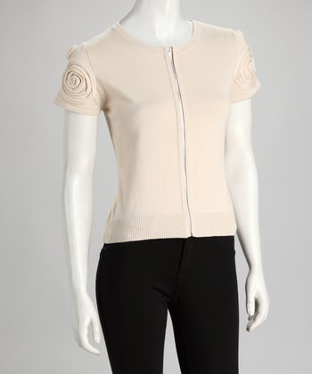 Beige Rosette Zipper Sweater