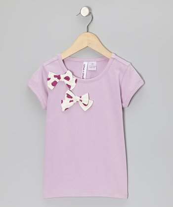 Orchid Polka Dot Bow Tee - Toddler & Girls