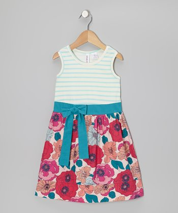 Blue Tint & Bright Rose Stripe Bow Dress - Toddler & Girls