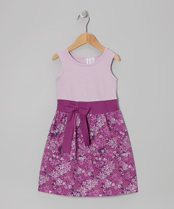 Orchid & Purple Rosebud Bow Dress - Toddler & Girls