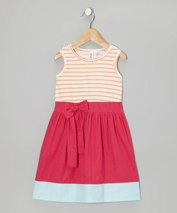 Tropical Punch & Bright Rose Stripe Bow Dress - Toddler & Girls