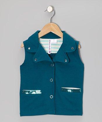 Blue Coral Sequin Vest - Girls