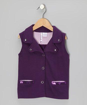 Shadow Purple Sequin Vest - Girls