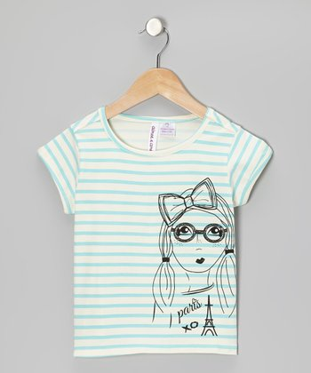 Blue Stripe 'Paris' Tee - Girls