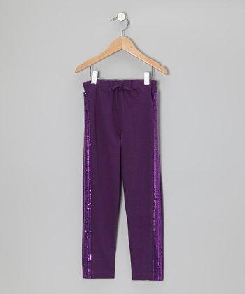 Shadow Purple Sequin Pants - Girls