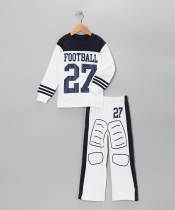 White 'Football' Pajama Set - Toddler & Boys