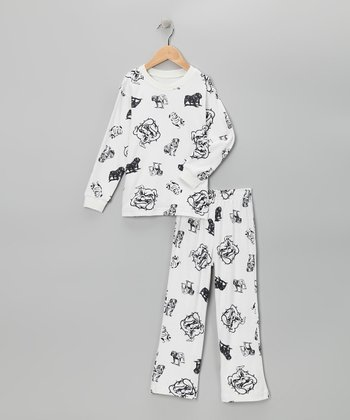 White Bulldog Pajama Set - Toddler & Boys
