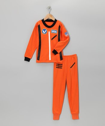Orange Astronaut Pajama Set - Toddler & Boys
