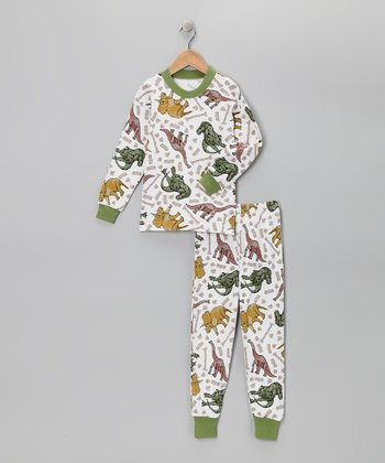 White Earthy Dino Pajama Set - Boys