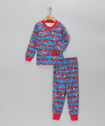 Red & Blue Roadster Pajama Set - Toddler & Boys