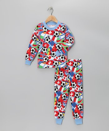 Blue & Red World Soccer Pajama Set - Toddler