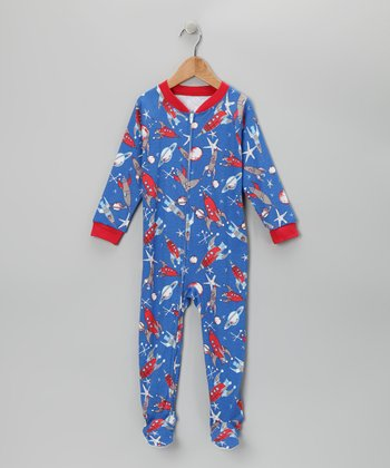 Blue Rocketship Footie - Toddler & Boys